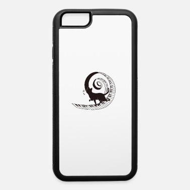 Black Cat Walking On Spiral Piano Music Love - iPhone 6 Case