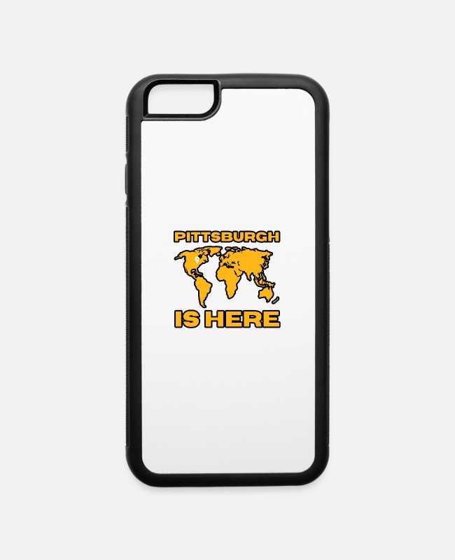 Geraud iPhone Cases - Pittsburgh Is Here World Map Funny Gifts - iPhone 6 Case white/black