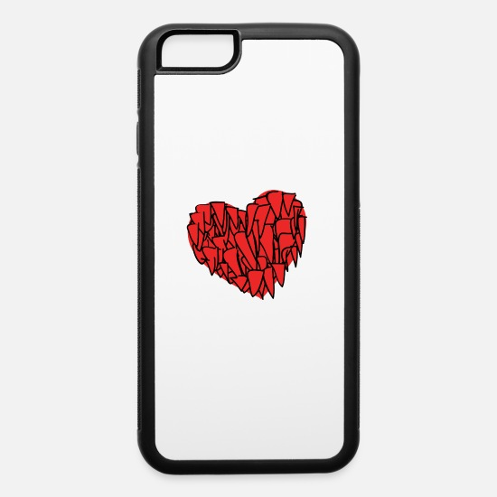 Red iPhone Cases - red heart - iPhone 6 Case white/black