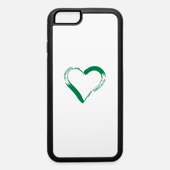Love iPhone Cases - red heart outline - iPhone 6 Case white/black