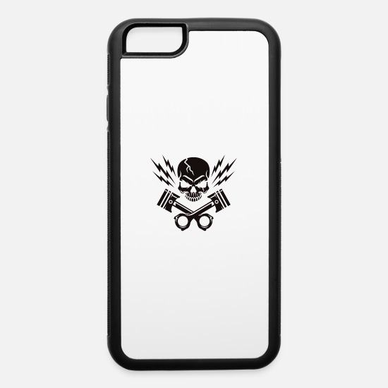 Biker iPhone Cases - Skull Piston Thunder - iPhone 6 Case white/black