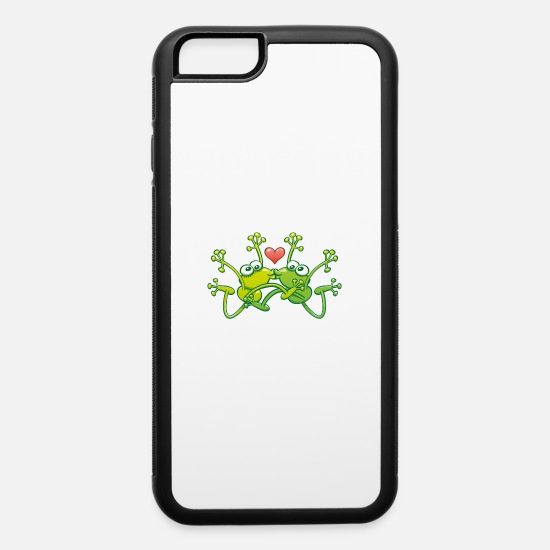 Love With Heart iPhone Cases - Frogs in love performing an acrobatic jumping kiss - iPhone 6 Case white/black