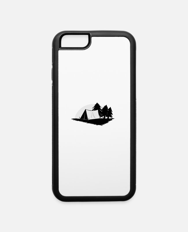 Tent iPhone Cases - camp site tent outdoor activity romantic gift - iPhone 6 Case white/black