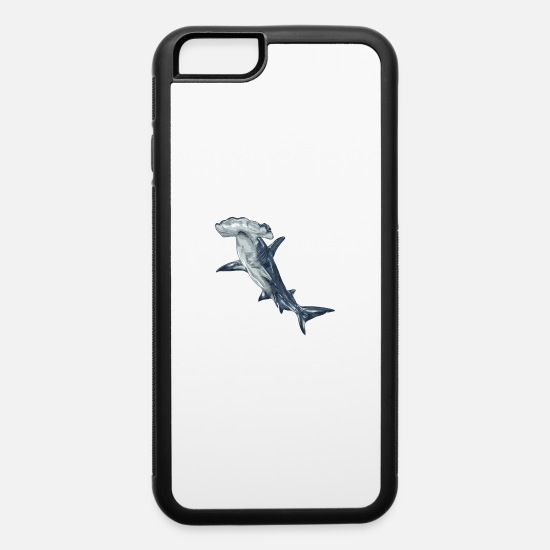 Shark iPhone Cases - hammerhead shark fin ocean - iPhone 6 Case white/black