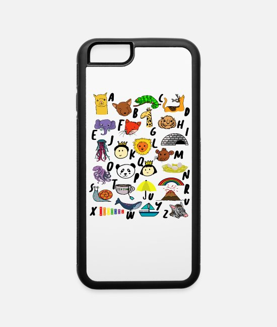 Learning iPhone Cases - School, First Grade, 1st Grader, Alphabet, Animals - iPhone 6 Case white/black