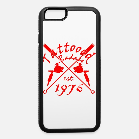 1976 iPhone Cases - Tattoo Badass year of birth 1976 - iPhone 6 Case white/black