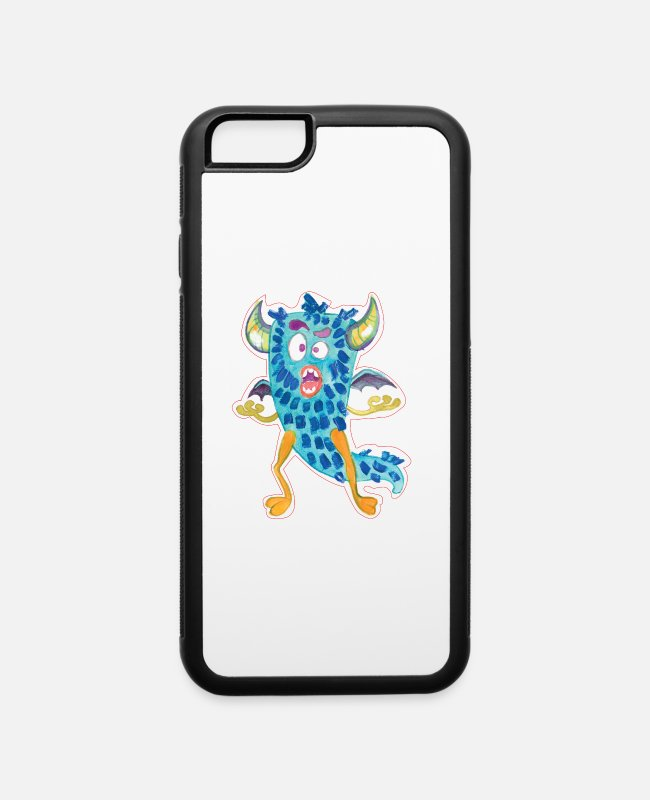 Cartoon Character iPhone Cases - Fuzzy blue Cartoon Monster in - iPhone 6 Case white/black