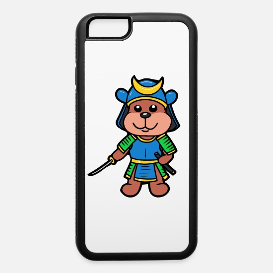 Sword iPhone Cases - Samurai Ninja Japan sword kendo katana teddy - iPhone 6 Case white/black
