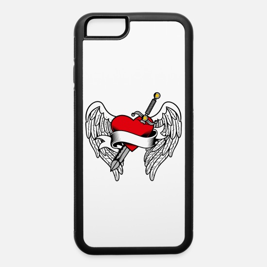 Pierce iPhone Cases - Red Heart Stabbed Hurt Love Valentine's Day Tattoo - iPhone 6 Case white/black
