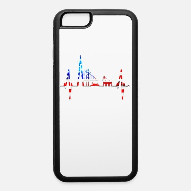 Tower Bridge San Francisco Heartbeat Skyline California US Flag - iPhone 6 Case