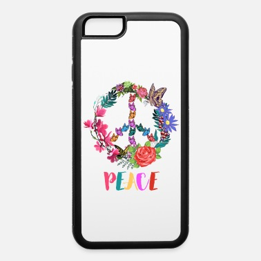 Hippie Movement Peace Sign Colorful Spring Flowers And Butterflies - iPhone 6 Case