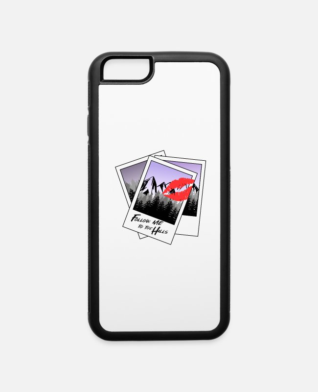 Mountains iPhone Cases - Polaroid Mountain Forest Nature Camp Kiss v3 - iPhone 6 Case white/black
