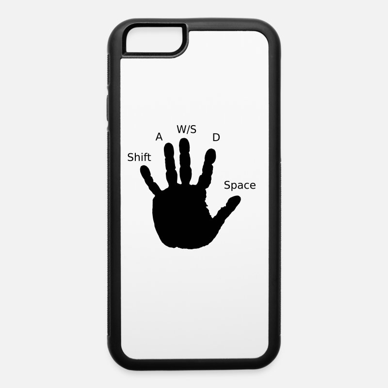 Gamer iPhone Cases - Gamer Hand, WASD - iPhone 6 Case white/black