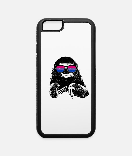 Lazy iPhone Cases - Pride Sloth Bisexual Flag Sunglasses - iPhone 6 Case white/black