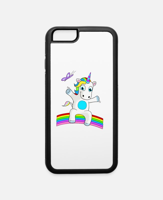 Butterflies And Rainbows iPhone Cases - YOUNG UNICORN SITTING ON RAINBOW - iPhone 6 Case white/black
