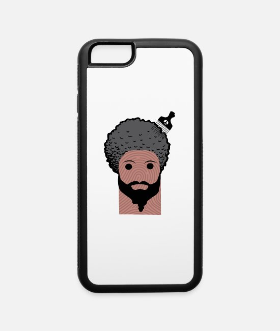 Middle East iPhone Cases - afro thumbprint middle - iPhone 6 Case white/black