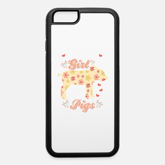 Floral iPhone Cases - Pig Piggy Hog Floral Hippie Flowers Gift - iPhone 6 Case white/black