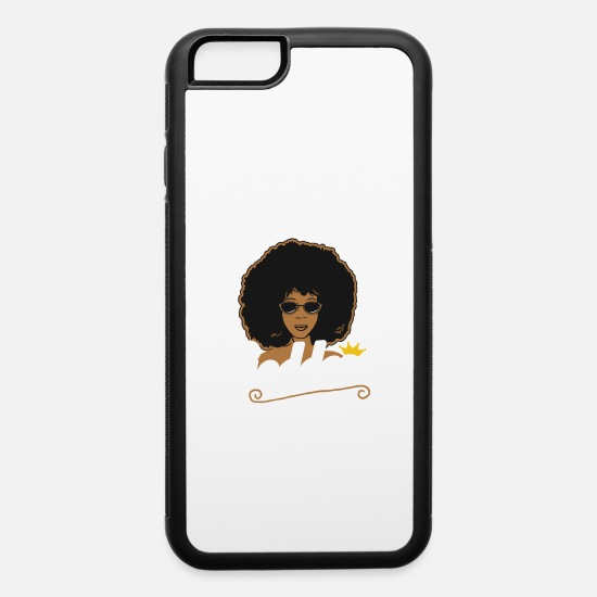 Black iPhone Cases - Melanin Goddess Afro| African American Pride - iPhone 6 Case white/black
