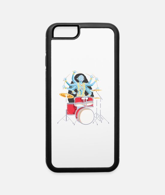 Hipster iPhone Cases - Kali Goddess Playing Drums Drummer Band - iPhone 6 Case white/black