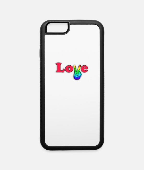 Pansexual iPhone Cases - LGBT Love Pride - Peace and Love! Good Vibes - iPhone 6 Case white/black