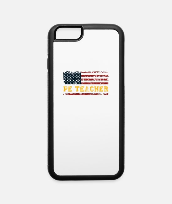 Physical iPhone Cases - P.E. USA Flag Patriot Coach. PE Physical Education - iPhone 6 Case white/black