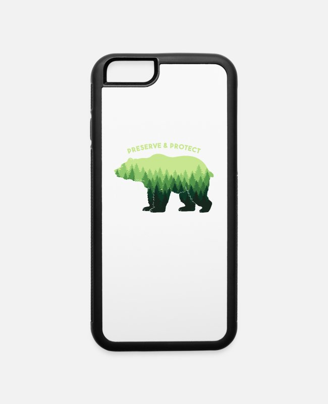Mountains iPhone Cases - Bear Design - Nature Lover Gift - Preserve & Prote - iPhone 6 Case white/black