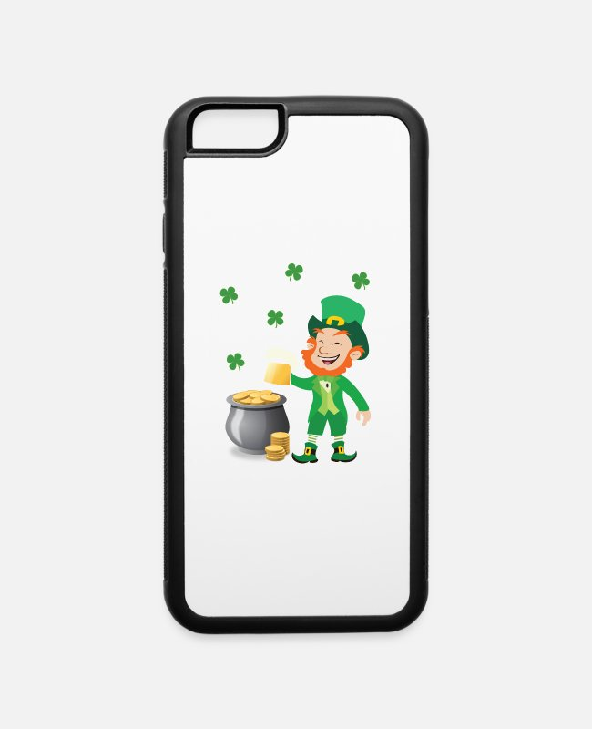 Patrick iPhone Cases - Irish Leprechaun With Pot Of Gold St. Patricks Day - iPhone 6 Case white/black