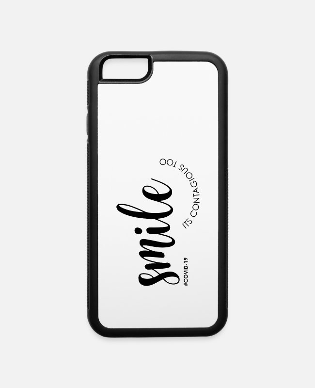 Coronavirus iPhone Cases - COVID-19 POSITIVE MESSAGE - SMILE - iPhone 6 Case white/black