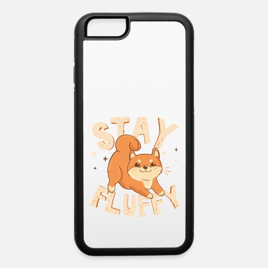 Art iPhone Cases - Stay Fluffy. Akita Inu. Cute Dog illustration - iPhone 6 Case white/black