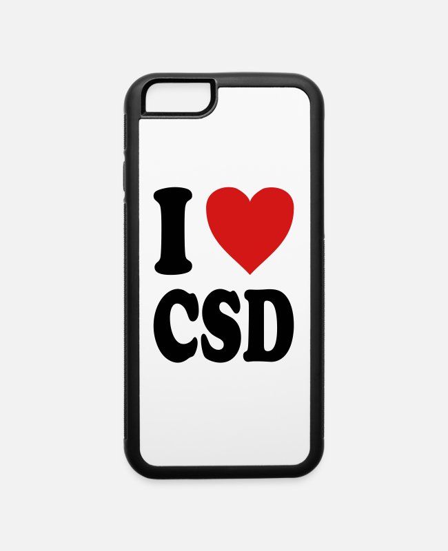 Heart iPhone Cases - I love CSD (variable colors!) - iPhone 6 Case white/black