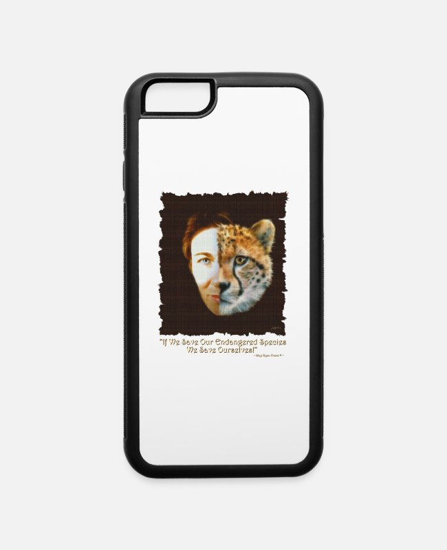 "Brown iPhone Cases - ""Save Endangered Wildlife"" - iPhone 6 Case white/black"
