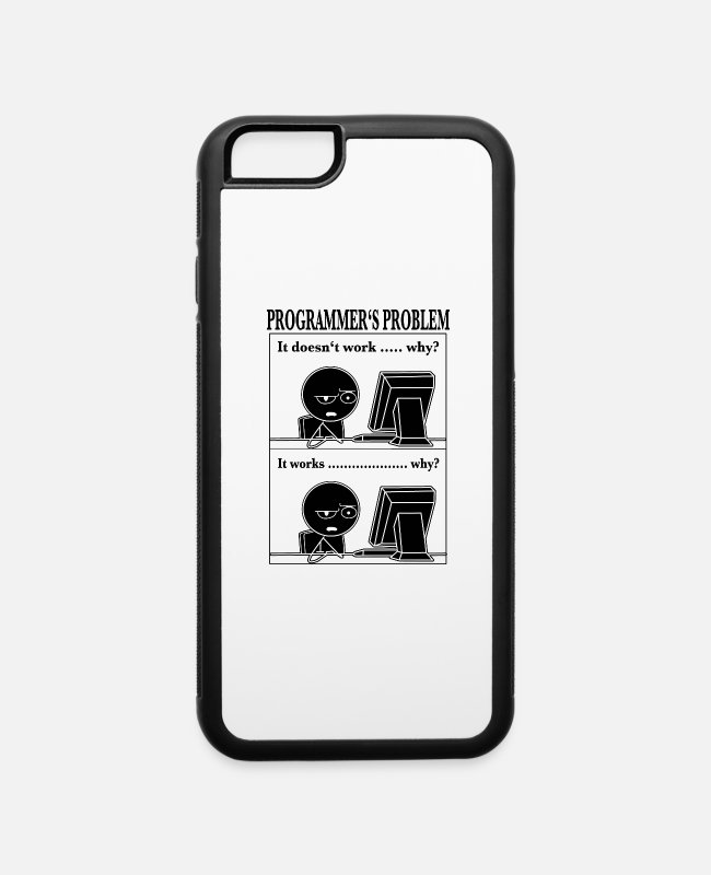 Design iPhone Cases - Programmer computer scientist Funny cartoon t-shir - iPhone 6 Case white/black