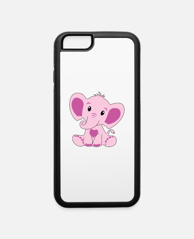 Pink Elephant iPhone Cases - Baby, Elephant, Pink, Baby Shower, Gift, - iPhone 6 Case white/black