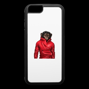 Monkey Wearing A Red Hoodie Animal Lover Graphic - iPhone 6/6s Rubber Case