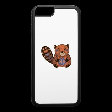 Beaver funny cartoon animal vector illustration - iPhone 6/6s Rubber Case