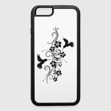 Hummingbirds with hibiscus and filigree tendril - iPhone 6/6s Rubber Case
