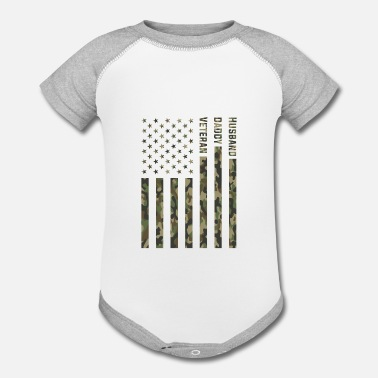 Funny Military Husband Daddy Veteran Patriotic Fathers Day Gifts - Contrast Baby Bodysuit