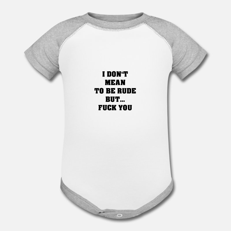 Young Baby Clothing - Fuck You - Contrast Baby Bodysuit white/gray