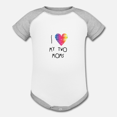Pride Gay pride - gift for lesbian moms child - rainbow - Contrast Baby Bodysuit