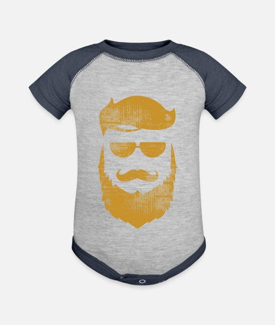 Hipster Baby One Pieces - Like A Boss - Baseball Baby Bodysuit heather gray/navy