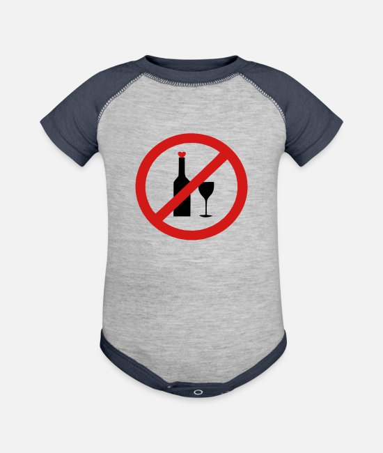 Vector-no-alcoholic-beverage-sign-design Baby One Pieces - ✔๏̯͡๏ No Alcohol-Ban Drinking-Prohibition๏̯͡๏✔ - Baseball Baby Bodysuit heather gray/navy