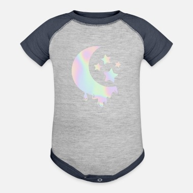 Pastel Goth Pastel Goth Moon with Stars. Kawaii Pastel Goth - Baseball Baby Bodysuit