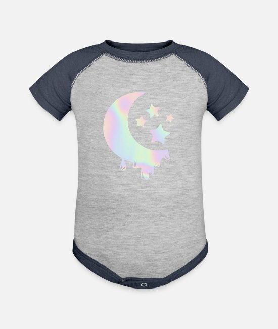 Girls Love Baby One Pieces - Pastel Goth Moon with Stars. Kawaii Pastel Goth - Baseball Baby Bodysuit heather gray/navy