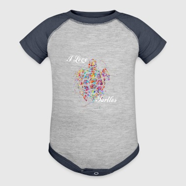 Cute Turtle Gift Paint Splatter - Baby Contrast One Piece