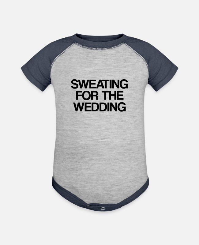 Wedding Cake Baby One Pieces - SWEATING FOR THE WEDDING - Baseball Baby Bodysuit heather gray/navy