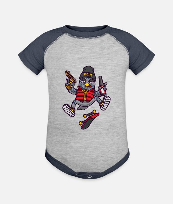 Dope Baby One Pieces - Dope Birds - Baseball Baby Bodysuit heather gray/navy