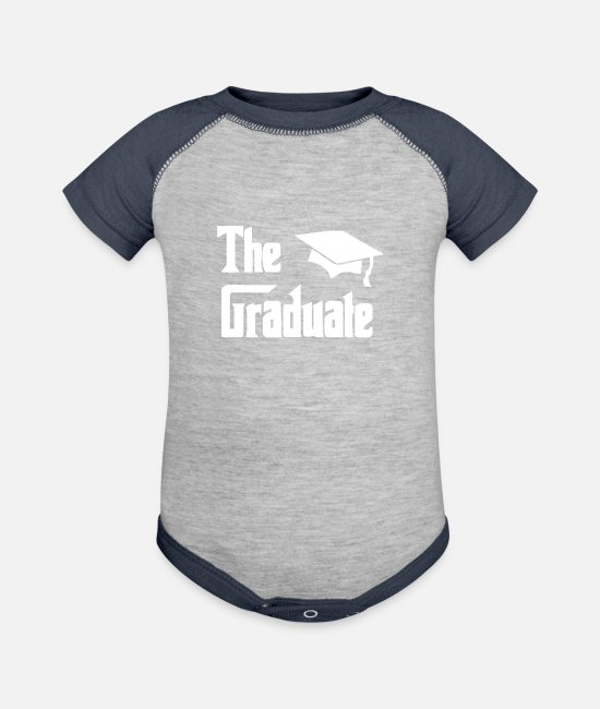 Movie Baby One Pieces - The Graduate Graduation - Baseball Baby Bodysuit heather gray/navy