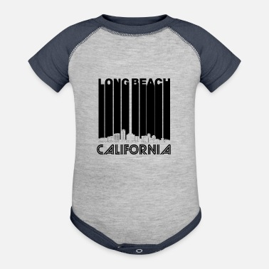 Beach Retro Long Beach California Skyline - Baseball Baby Bodysuit