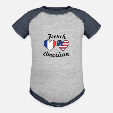 French Flag French American Flag Hearts - Contrast Baby Bodysuit