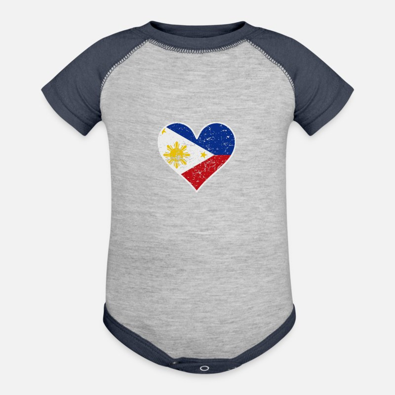 015e8f7699e Philippines Baby Clothing - Distressed Filipino Flag Heart - Contrast Baby  Bodysuit heather gray navy